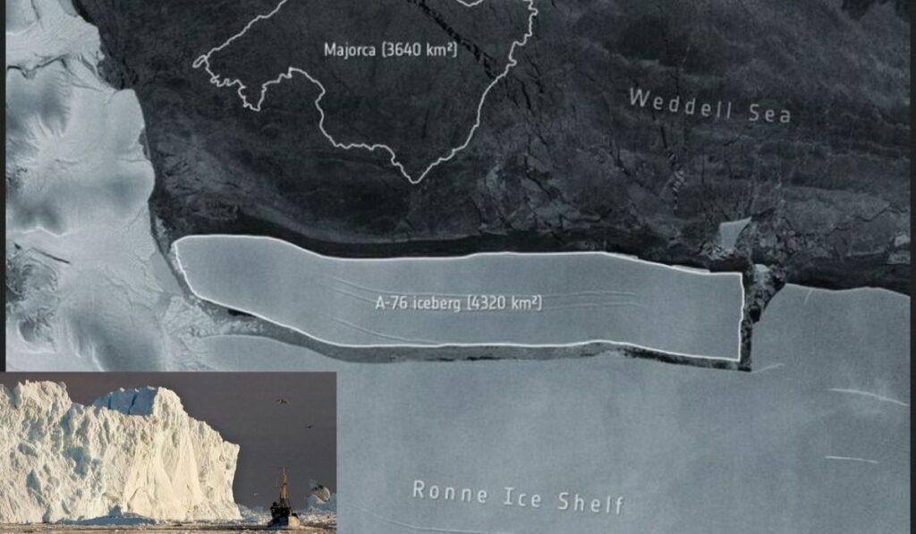 Iceberg más grande del mundo de 174 km de largo se desprendió de la Antártida